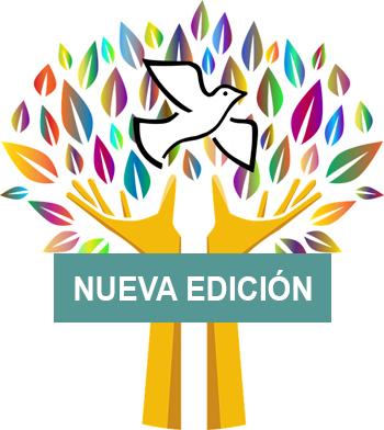 imagen de la edición del postgrado en cultura de la paz, una paloma blanca vuela entre las hojas multicolor que surgen de dos manos que hacen la forma de un tronco