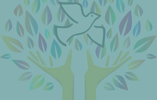 Imatge del cartell del postgrau de cultura de la pau, un colom blanc amb la branca l'olivera vola sobre unes mans que representen un tronc s'un arbre amb fulles multicolor