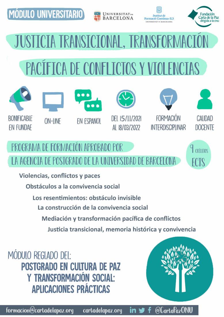 infografía módulo justicia transicional, transformación pacífica de conflictos y violencias